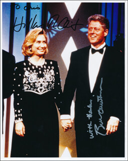 Autographs: PRESIDENT WILLIAM J. BILL CLINTON - INSCRIBED PHOTOGRAPH SIGNED CO-SIGNED BY: FIRST LADY HILLARY RODHAM CLINTON