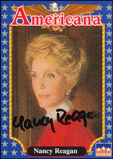 FIRST LADY NANCY DAVIS REAGAN - TRADING/SPORTS CARD SIGNED