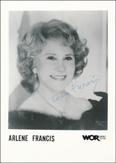 ARLENE FRANCIS - PRINTED PHOTOGRAPH SIGNED IN INK