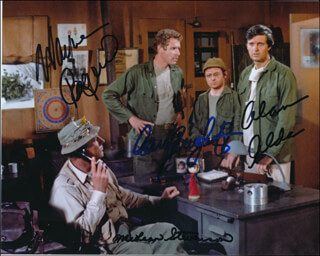 M*A*S*H TV CAST - AUTOGRAPHED SIGNED PHOTOGRAPH CO-SIGNED BY: MCLEAN STEVENSON, ALAN ALDA, GARY BURGHOFF, WAYNE ROGERS