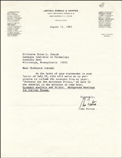 ASSOCIATE JUSTICE ABE FORTAS - TYPED LETTER SIGNED 08/11/1965