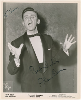 ALAN DEAN - AUTOGRAPHED INSCRIBED PHOTOGRAPH