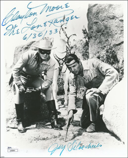THE LONE RANGER AND THE LOST CITY OF GOLD MOVIE CAST - AUTOGRAPHED SIGNED PHOTOGRAPH 06/30/1983 CO-SIGNED BY: CLAYTON THE LONE RANGER MOORE, JAY TONTO SILVERHEELS
