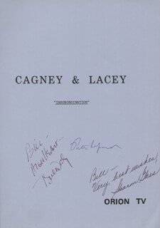 Autographs: CAGNEY & LACEY TV CAST - SCRIPT SIGNED CO-SIGNED BY: SHARON GLESS, TYNE DALY, PETER LEFCOURT