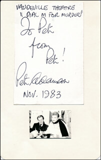 PETER ADAMSON - AUTOGRAPH NOTE DOUBLE SIGNED 11/1983