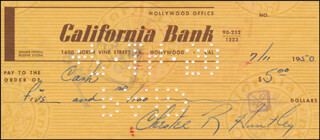 CHET HUNTLEY - AUTOGRAPHED SIGNED CHECK 07/11/1950
