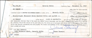 JAMES JIMMY STEWART - PROMISSORY NOTE SIGNED 12/21/1967