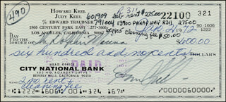HOWARD KEEL - AUTOGRAPHED SIGNED CHECK 01/21/1972