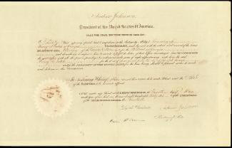 PRESIDENT ANDREW JOHNSON - CIVIL APPOINTMENT SIGNED 05/04/1866 CO-SIGNED BY: HENRY S. FITCH, JOHN ERSKINE, WILLIAM H. SEWARD