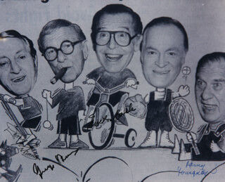 GEORGE BURNS - AUTOGRAPHED SIGNED PHOTOGRAPH CO-SIGNED BY: HENNY YOUNGMAN, MILTON BERLE, DANNY THOMAS