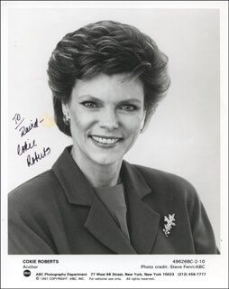 COKIE ROBERTS - INSCRIBED PRINTED PHOTOGRAPH SIGNED IN INK