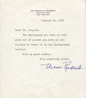 Autographs: FIRST LADY ELEANOR ROOSEVELT - TYPED LETTER SIGNED 01/26/1960