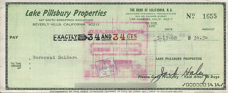 JACK HALEY SR. - AUTOGRAPHED SIGNED CHECK 03/13/1968