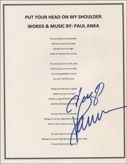 Autographs: PAUL ANKA - TYPED LYRIC(S) SIGNED