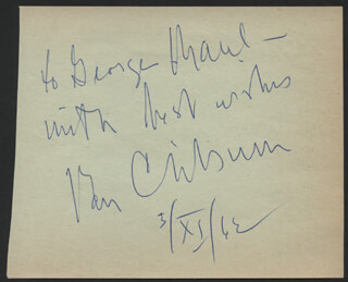 VAN CLIBURN - AUTOGRAPH NOTE SIGNED 11/03/1962 CO-SIGNED BY: MARK LENARD, ELIZABETH AMES