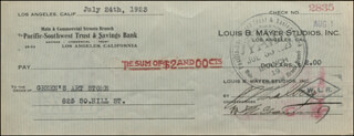 IRVING THALBERG - AUTOGRAPHED SIGNED CHECK 07/24/1923 CO-SIGNED BY: M.E. GREENWOOD