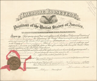 Autographs: PRESIDENT THEODORE ROOSEVELT - CIVIL APPOINTMENT SIGNED 02/12/1903 CO-SIGNED BY: HENRY C. PAYNE
