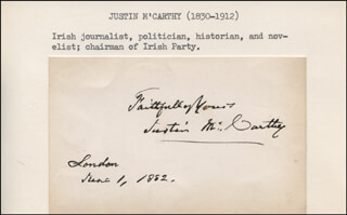 JUSTIN McCARTHY - AUTOGRAPH SENTIMENT SIGNED 06/01/1882