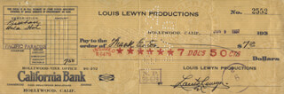LOUIS LEWYN - AUTOGRAPHED SIGNED CHECK 06/09/1937