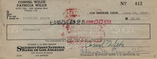 CORNEL WILDE - AUTOGRAPHED SIGNED CHECK 06/10/1947 CO-SIGNED BY: PATRICIA WILDE