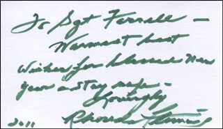 RHONDA FLEMING - AUTOGRAPH NOTE SIGNED 2011