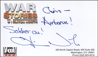 LT. COLONEL OLIVER L. NORTH - AUTOGRAPH NOTE SIGNED