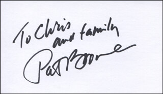 PAT BOONE - INSCRIBED SIGNATURE