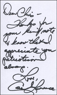 CAROL LAWRENCE - AUTOGRAPH NOTE SIGNED