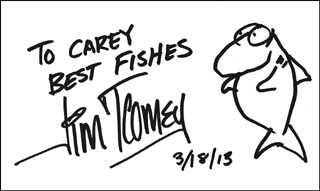 JIM TOOMEY - AUTOGRAPH NOTE ON ORIGINAL ART SIGNED 03/18/2013