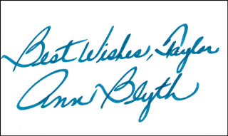 ANN BLYTH - AUTOGRAPH NOTE SIGNED