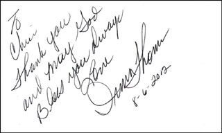 IRMA THOMAS - AUTOGRAPH NOTE SIGNED 08/06/2012