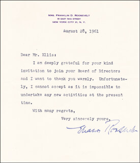 FIRST LADY ELEANOR ROOSEVELT - TYPED LETTER SIGNED 08/28/1961