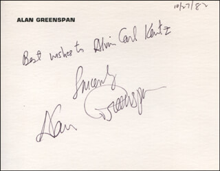 ALAN GREENSPAN - AUTOGRAPH NOTE SIGNED 10/27/1982