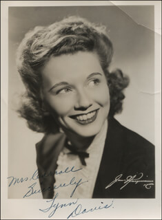 LYNN DAVIS - AUTOGRAPHED INSCRIBED PHOTOGRAPH