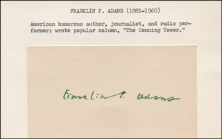 Autographs: FRANKLIN P. ADAMS - SIGNATURE(S)
