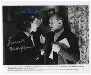 THE REMAINS OF THE DAY MOVIE CAST - AUTOGRAPHED SIGNED PHOTOGRAPH CO-SIGNED BY: EMMA THOMPSON, ANTHONY HOPKINS