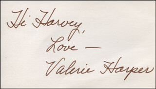 VALERIE HARPER - AUTOGRAPH NOTE SIGNED