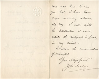 JOHN MALONE - AUTOGRAPH LETTER SIGNED 01/22/1900