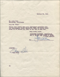 LEON URIS - TYPED LETTER SIGNED 10/22/1955 CO-SIGNED BY: HAL B. WALLIS
