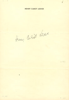 HENRY CABOT LODGE JR. - AUTOGRAPH