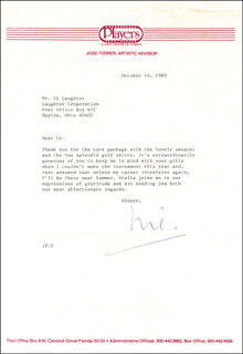 JOSE FERRER - TYPED LETTER SIGNED 10/14/1983