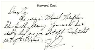 HOWARD KEEL - AUTOGRAPH NOTE SIGNED