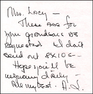 ANNE JEFFREYS - AUTOGRAPH NOTE SIGNED