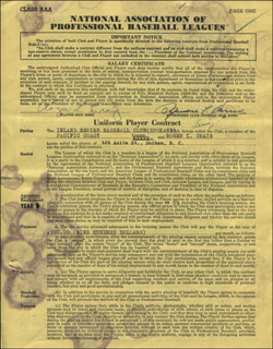 ROGER CRAIG - CONTRACT DOUBLE SIGNED 04/16/1959 CO-SIGNED BY: GEORGE M. TRAUTMAN, LESLIE M. O'CONNOR, SPENCER F. HARRIS