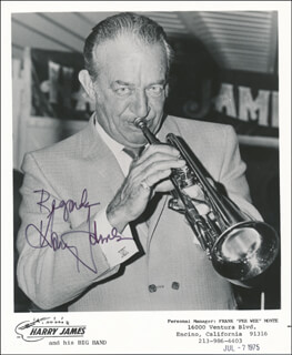 HARRY JAMES - PRINTED PHOTOGRAPH SIGNED IN INK