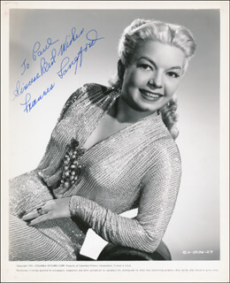 FRANCES LANGFORD - INSCRIBED PRINTED PHOTOGRAPH SIGNED IN INK