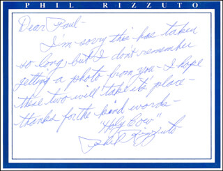 PHIL RIZZUTO - AUTOGRAPH LETTER SIGNED