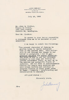JACK BENNY - TYPED LETTER SIGNED 07/23/1962