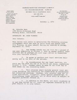 GROUCHO (JULIUS) MARX - CONTRACT SIGNED 10/01/1974 CO-SIGNED BY: ERIN FLEMING, ALLEN D. LENARD