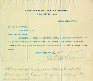 GEORGE EASTMAN - TYPED LETTER SIGNED 03/12/1915
